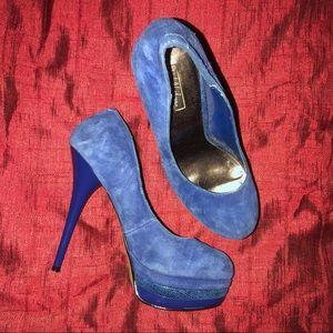 Wild Pair Blue Stiletto Suede Shoes 7.5